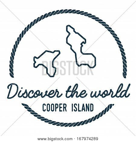 Cooper Island Map Outline. Vintage Discover The World Rubber Stamp With Island Map. Hipster Style Na