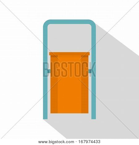 Orange public garbage bin icon. Flat illustration of orange public garbage bin vector icon for web on white background
