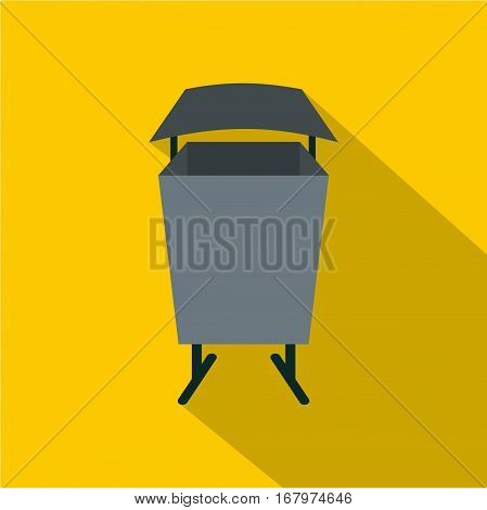 Metal rubbish bin icon. Flat illustration of metal rubbish bin vector icon for web on yellow background