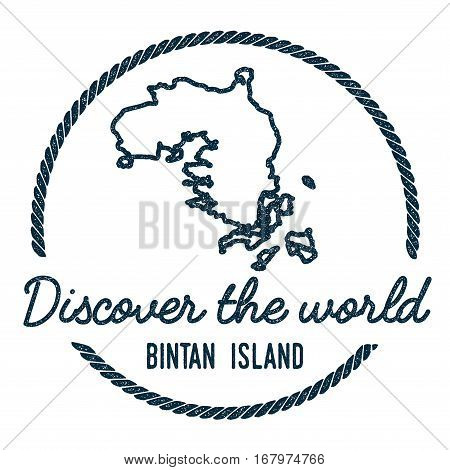 Bintan Island Map Outline. Vintage Discover The World Rubber Stamp With Island Map. Hipster Style Na