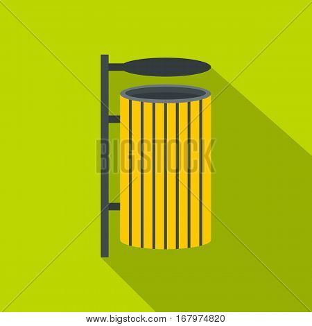 Yellow litter waste bin icon. Flat illustration of yellow litter waste bin vector icon for web on lime background