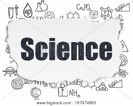 Science concept: Painted black text Science on Torn Paper background with  Hand Drawn Science Icons