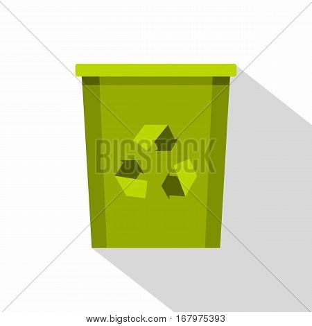 Green recycle bin with recycle symbol icon. Flat illustration of green recycle bin with recycle symbol vector icon for web on white background
