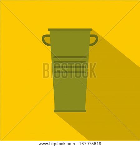 Green garbage tank with handles icon. Flat illustration of green garbage tank with handles vector icon for web on yellow background