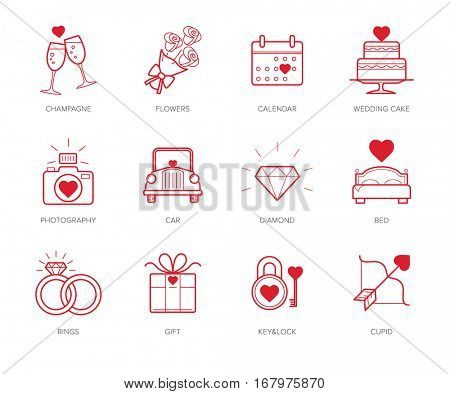 Wedding icons set with red hearts
