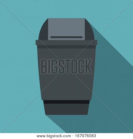 Grey flip lid bin icon. Flat illustration of grey flip lid bin vector icon for web on baby blue background