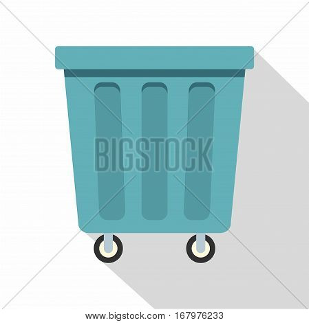 Outdoor blue trash can made of plastic icon. Flat illustration of outdoor blue trash can made of plastic vector icon for web on white background