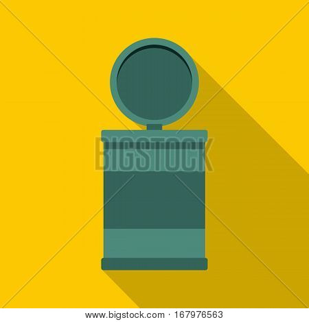 Garbage bin with opening lid icon. Flat illustration of garbage bin with opening lid vector icon for web on yellow background