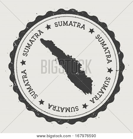 Sumatra Sticker. Hipster Round Rubber Stamp With Island Map. Vintage Passport Sign With Circular Tex