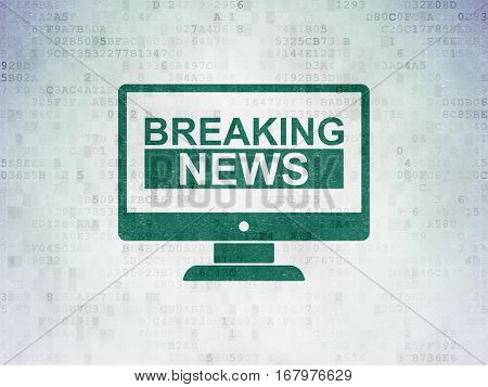News concept: Painted green Breaking News On Screen icon on Digital Data Paper background