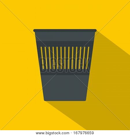 Bin for papers icon. Flat illustration of bin for papers vector icon for web on yellow background