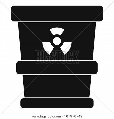 Trashcan containing radioactive waste icon. Simple illustration of trashcan containing radioactive waste vector icon for web