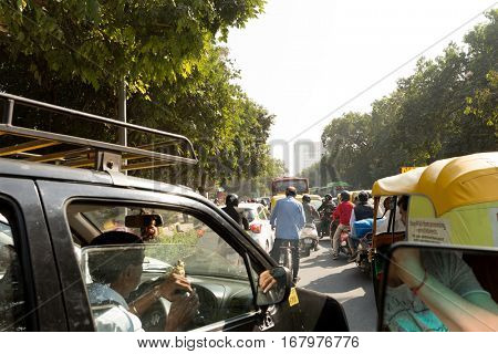 NEW DELHI, INDIA - CIRCA NOV 2016: Traffic in New Delhi, India
