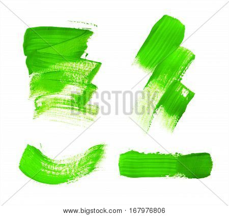 Set Of Green Brush Strokes Of Acrilic Paint As Sample Of Art Product