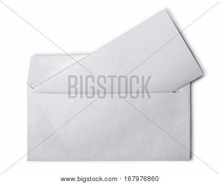 White Envelope With Folded Blank Sheet For Correspondence