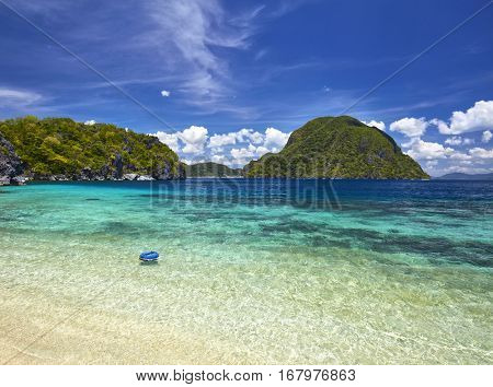 Amazing nature background. Tropical blue sea in Palawan, Philippines