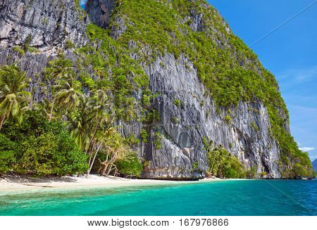 Beautiful tropical island. Scenic landscape with mountain islands and blue lagoon. El Nido, Palawan, Philippines