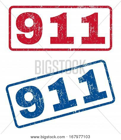 911 text rubber seal stamp watermarks. Vector style is blue and red ink caption inside rounded rectangular banner. Grunge design and dust texture. Blue and red emblems.