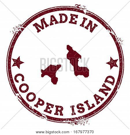 Cooper Island Seal. Vintage Island Map Sticker. Grunge Rubber Stamp With Made In Text And Map Outlin