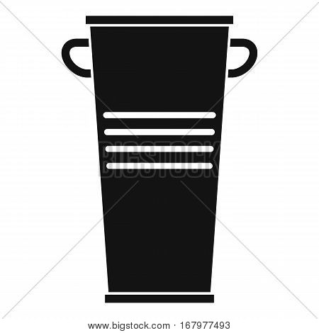 Trash can with handles icon. Simple illustration of trash can with handles vector icon for web