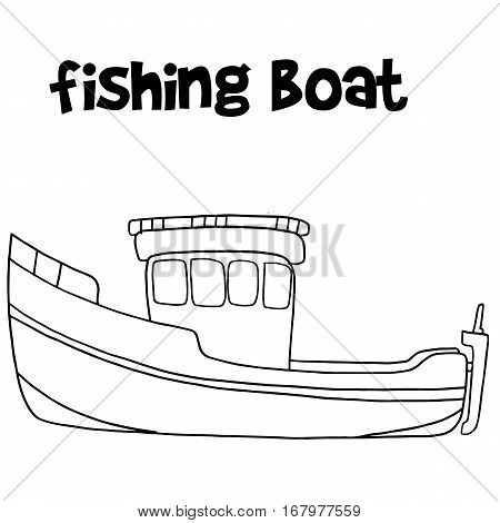 Fishing boat of vector art collection stock