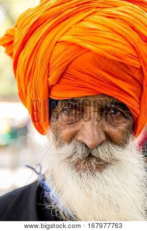 Close-up of Sikh Man, Punjab, India