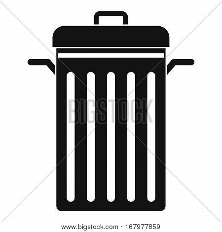 Metal trash can icon. Simple illustration of metal trash can vector icon for web