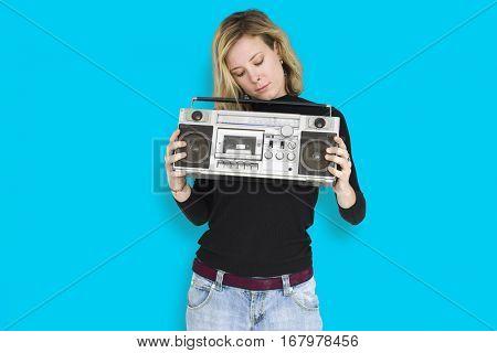 Caucasian Woman Listen Music Boombox