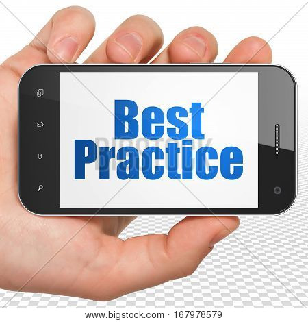 Education concept: Hand Holding Smartphone with blue text Best Practice on display, 3D rendering