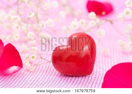 Closeup Of Red Heart And White Flowers, On Pink Mesh Fabric.