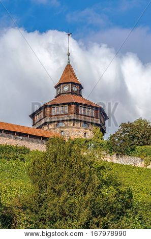 The Esslingen Burg (Castle) has towered above the town for over 700 years. It was always part of the former town fortifications. Germany. Dicker Turm (Big Tower)