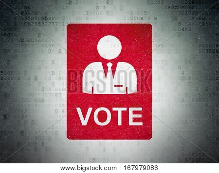 Political concept: Painted red Ballot icon on Digital Data Paper background