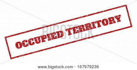 Red rubber seal stamp with Occupied Territory text. Vector caption inside rectangular shape. Grunge design and scratched texture for watermark labels. Inclined sticker.