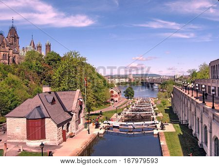 Rideau Canal Locks on the background of River in Ottawa Canada May 18 2008