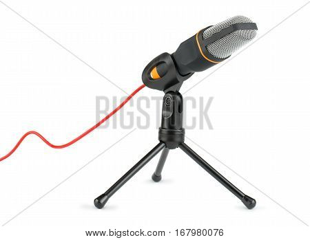 Black retro microphone with stand on white background
