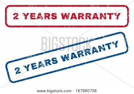 2 Years Warranty text rubber seal stamp watermarks. Vector style is blue and red ink tag inside rounded rectangular banner. Grunge design and dirty texture. Blue and red emblems.