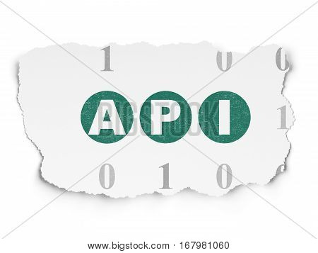 Programming concept: Painted green text Api on Torn Paper background with  Binary Code