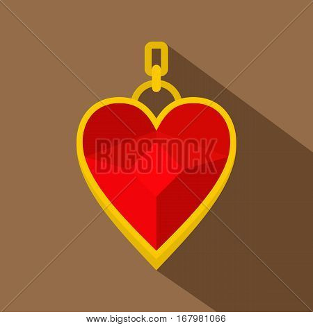 Red heart shape gemstone pendant icon. Flat illustration of red heart shape gemstone pendant vector icon for web on coffee background