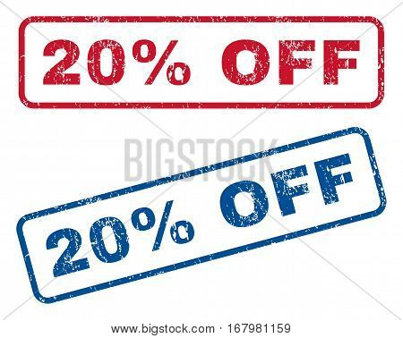 20 Percent Off text rubber seal stamp watermarks. Vector style is blue and red ink tag inside rounded rectangular banner. Grunge design and unclean texture. Blue and red stickers.