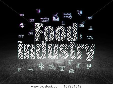 Industry concept: Glowing text Food Industry,  Hand Drawn Industry Icons in grunge dark room with Dirty Floor, black background