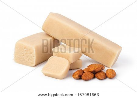 Marzipan with almonds on white background