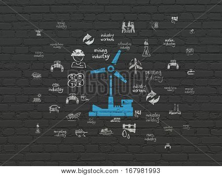 Industry concept: Painted blue Windmill icon on Black Brick wall background with  Hand Drawn Industry Icons