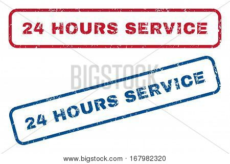 24 Hours Service text rubber seal stamp watermarks. Vector style is blue and red ink tag inside rounded rectangular banner. Grunge design and scratched texture. Blue and red emblems.