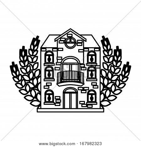 contour beer canteen with wheat image design, vector illustration