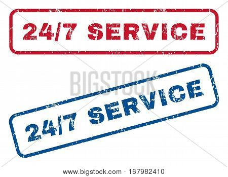 24-7 Service text rubber seal stamp watermarks. Vector style is blue and red ink tag inside rounded rectangular shape. Grunge design and unclean texture. Blue and red signs.
