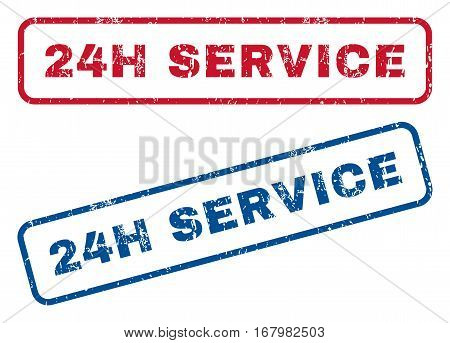 24H Service text rubber seal stamp watermarks. Vector style is blue and red ink caption inside rounded rectangular shape. Grunge design and unclean texture. Blue and red emblems.