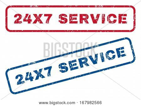 24X7 Service text rubber seal stamp watermarks. Vector style is blue and red ink tag inside rounded rectangular shape. Grunge design and dirty texture. Blue and red emblems.