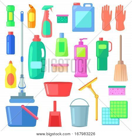 Cleaning. Different Icons of Cleaning Mean Kinds. Bucket, gloves, duster, detergent, brush, mop, broom, wiper, spray sponge soapsweeping White background Flat design Vector illustration