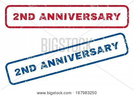 2nd Anniversary text rubber seal stamp watermarks. Vector style is blue and red ink caption inside rounded rectangular banner. Grunge design and unclean texture. Blue and red emblems.