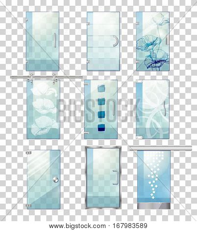 Set of various types of contemporary glass doors. Flat design. Pockmarked background. Clean glass door, with lines, flowers, squares, stains. Different kind of handles, straight, circle, waved Vector